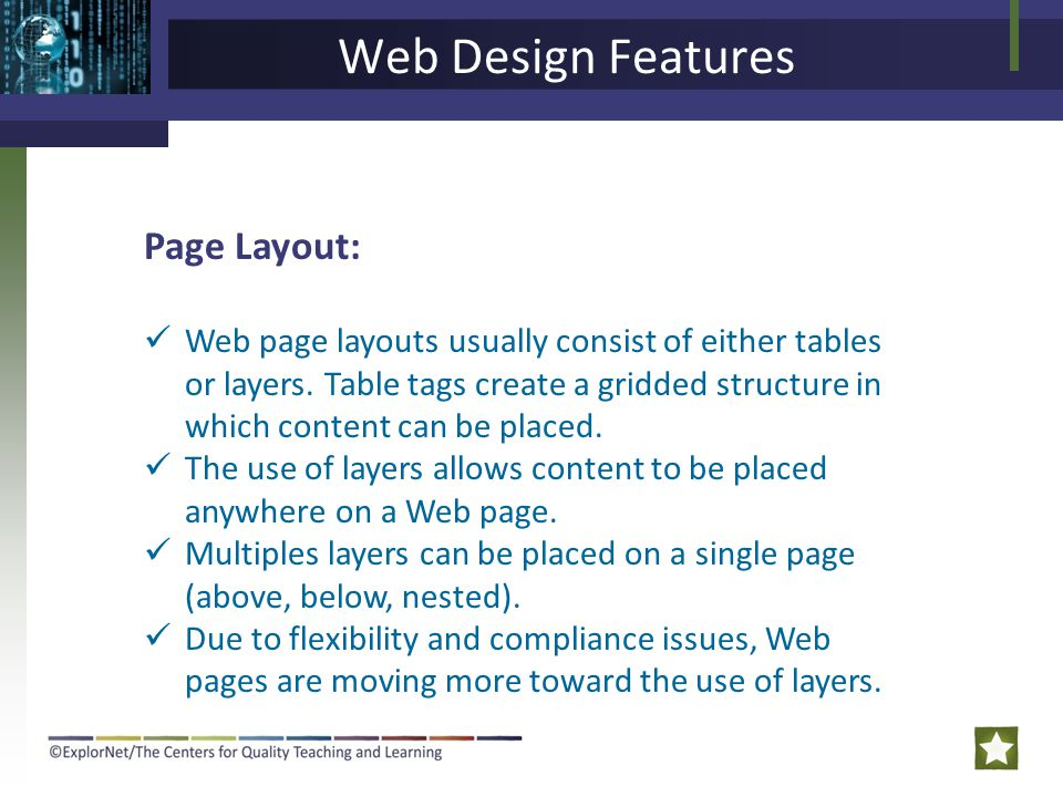 Web Design Features Page Layout: