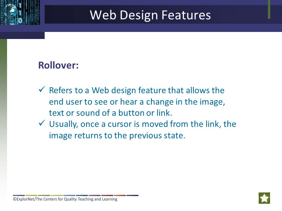 Web Design Features Rollover: