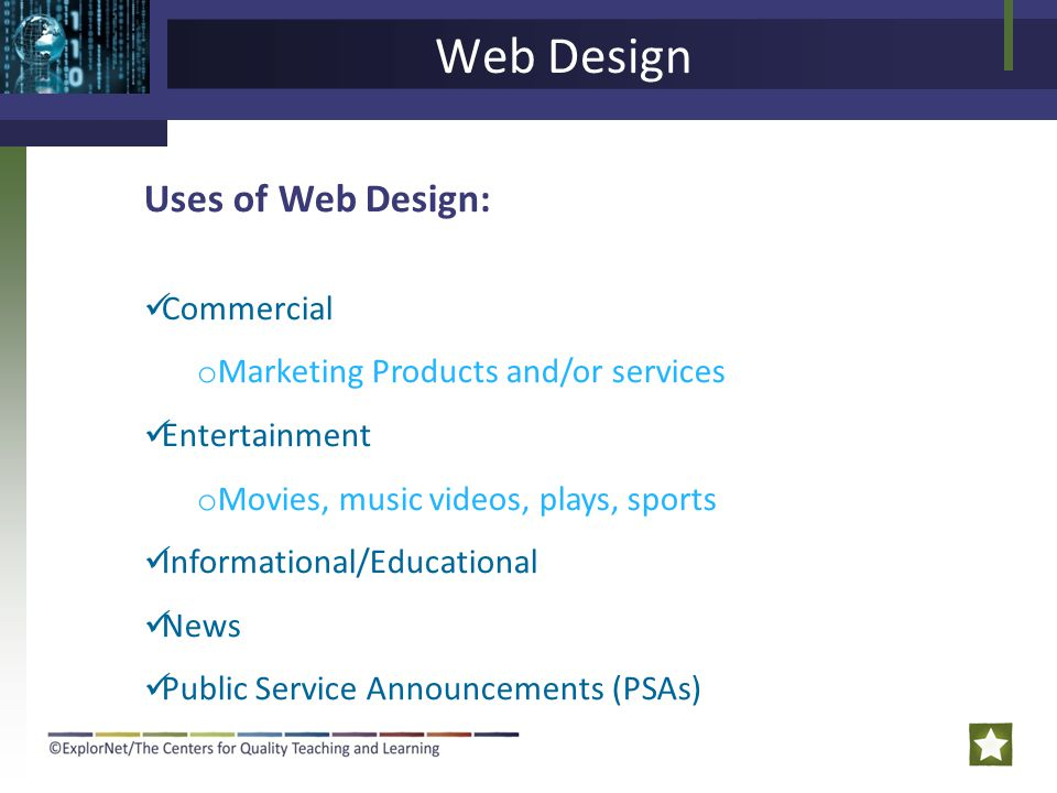 Web Design Uses of Web Design: Commercial