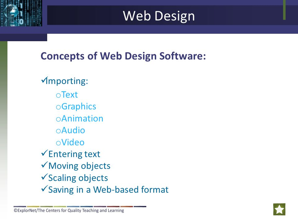 Web Design Concepts of Web Design Software: Importing: Text Graphics