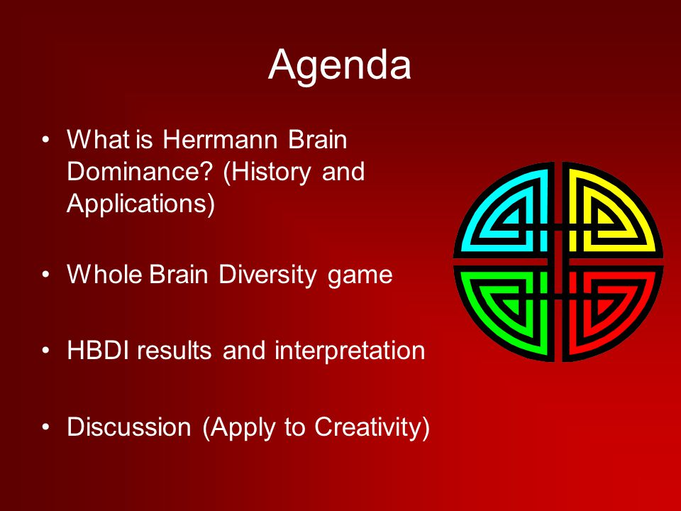 Agenda What is Herrmann Brain Dominance (History and Applications)