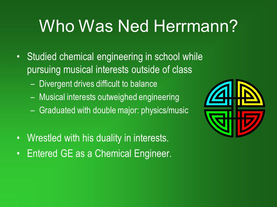 Who Was Ned Herrmann Studied chemical engineering in school while pursuing musical interests outside of class.