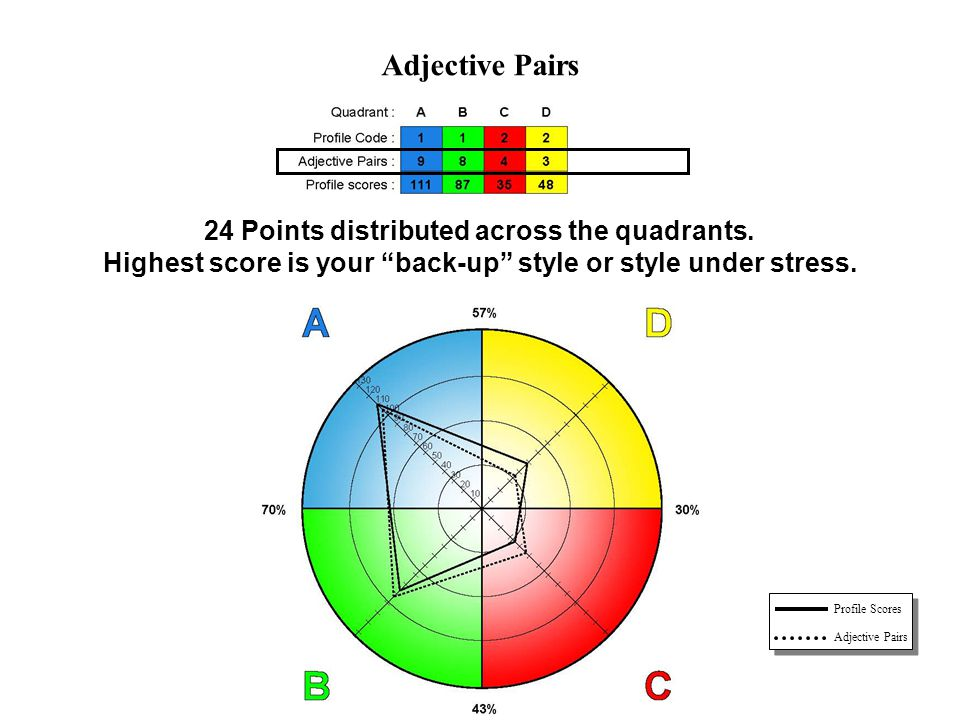 Adjective Pairs 24 Points distributed across the quadrants.