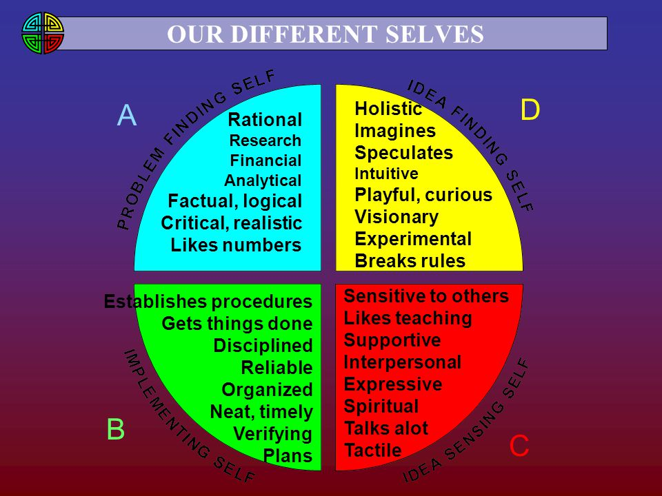 D A B C OUR DIFFERENT SELVES Holistic Imagines Speculates