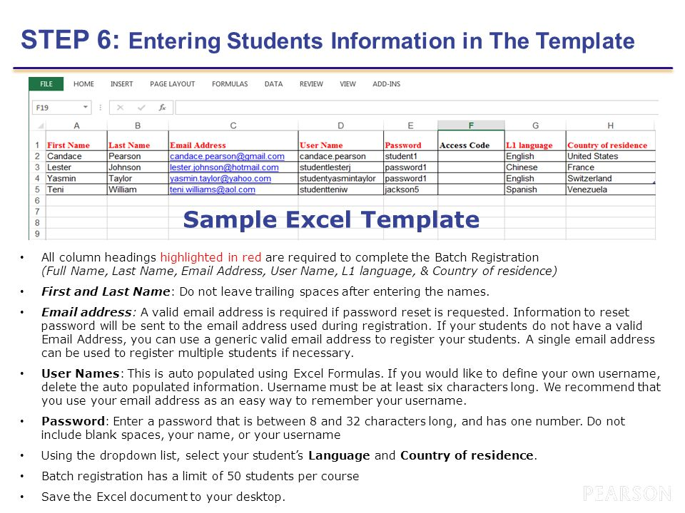 STEP 6: Entering Students Information in The Template