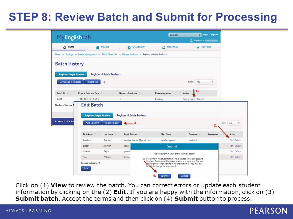 STEP 8: Review Batch and Submit for Processing