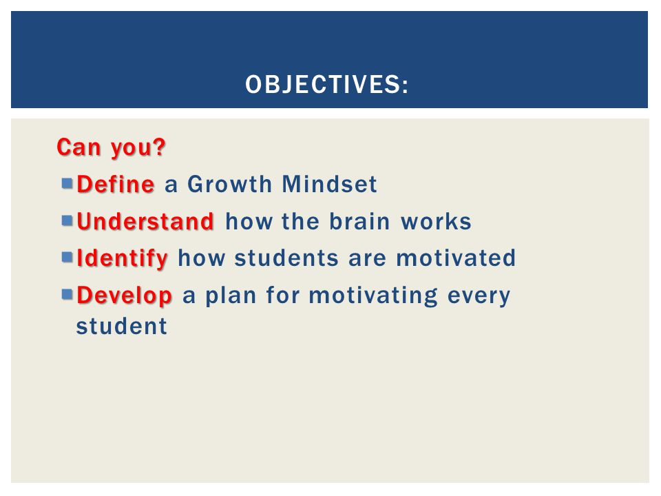 Objectives: Can you Define a Growth Mindset