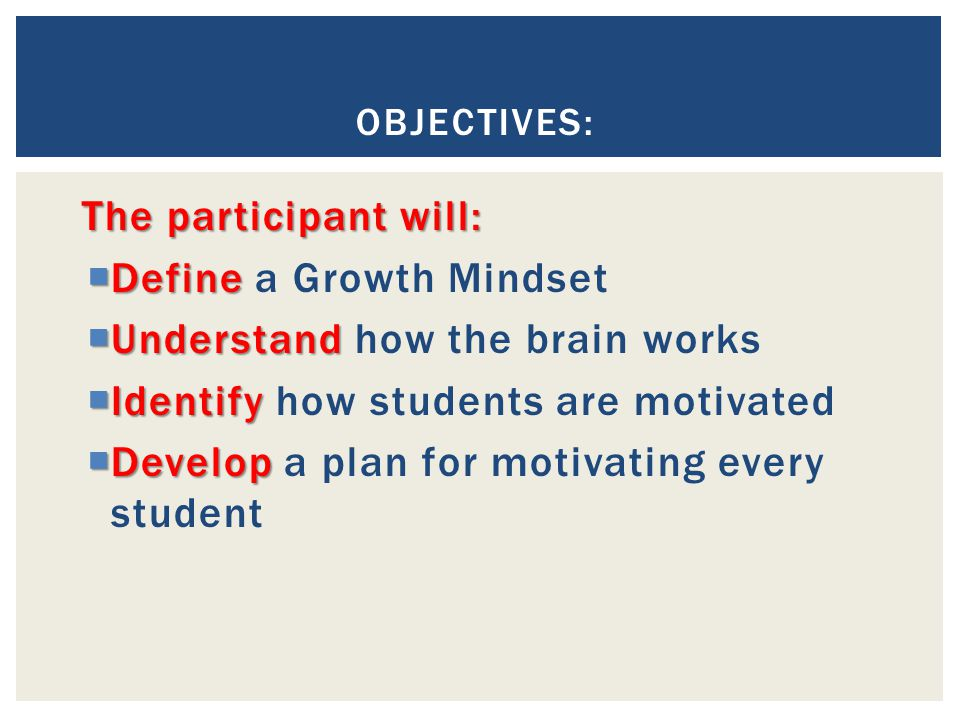 Define a Growth Mindset Understand how the brain works
