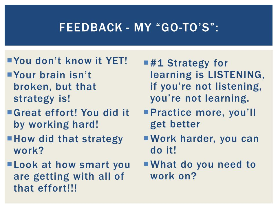 Feedback - My Go-To's :