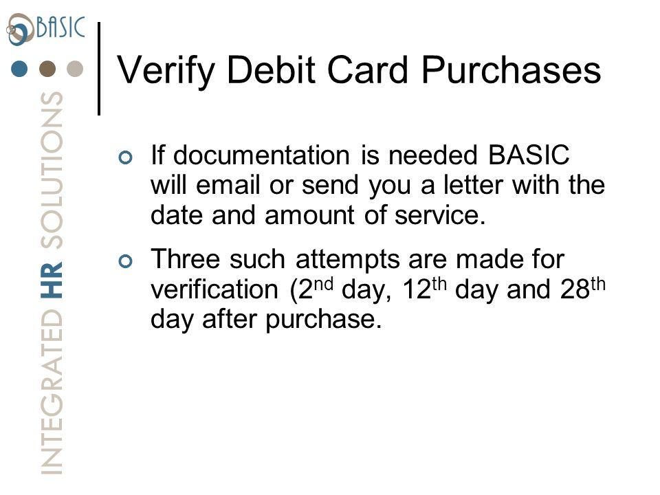 Verify Debit Card Purchases