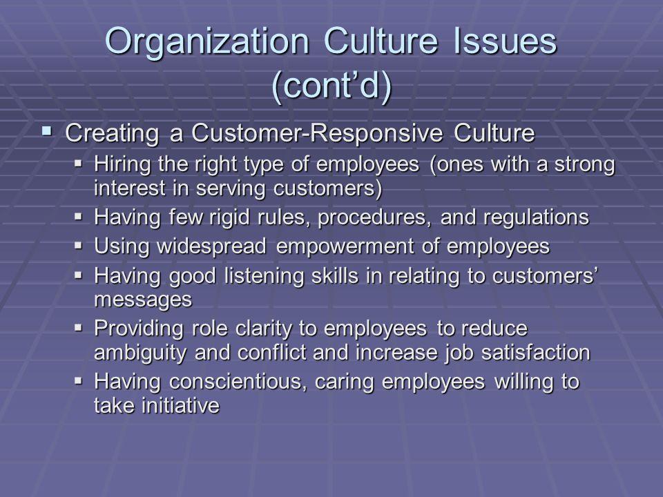 Organization Culture Issues (cont'd)