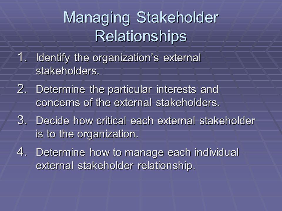 Managing Stakeholder Relationships