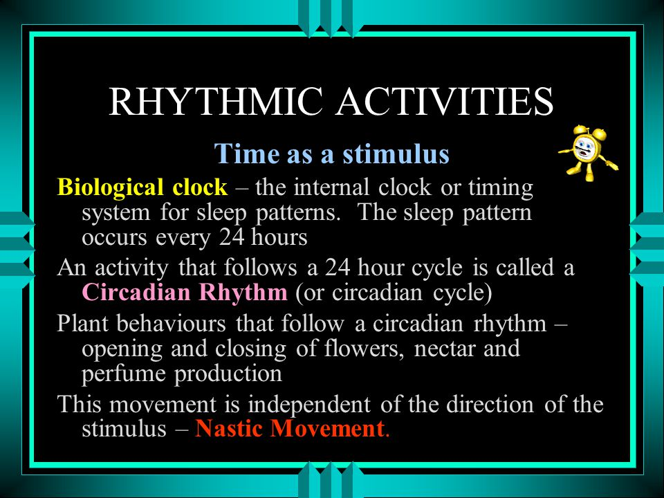 RHYTHMIC ACTIVITIES Time as a stimulus