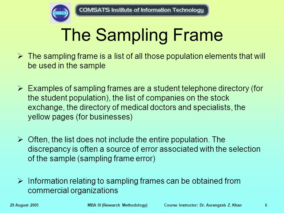 research methods and sampling design Once you know your population, sampling frame, sampling method, and sample size, you can use all that information to choose your sample importance as you can see, choosing a sample is a.