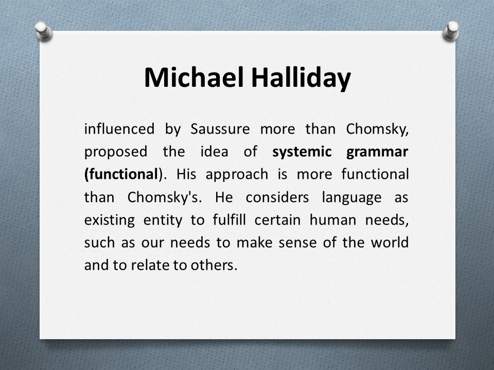 chomsky and halliday Halliday vs chomsky chomsky halliday language is innate lad hardwired into brain universal grammar.