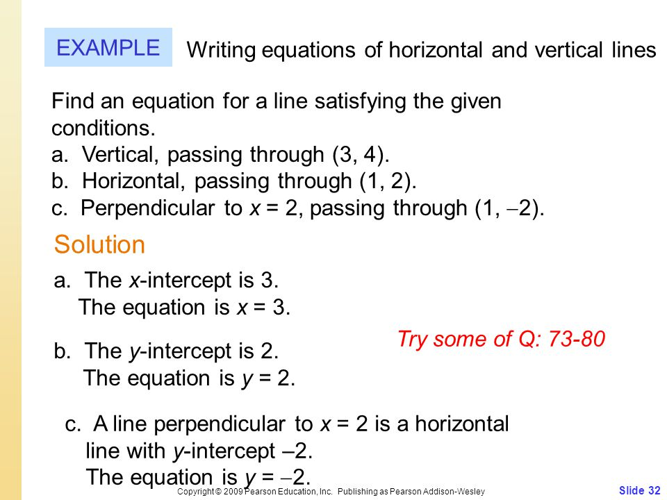 How do you write equations for the vertical and horizontal lines passing through the point (8, -7)?