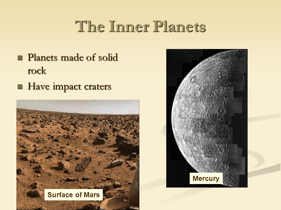 The Inner Planets Planets made of solid rock Have impact craters
