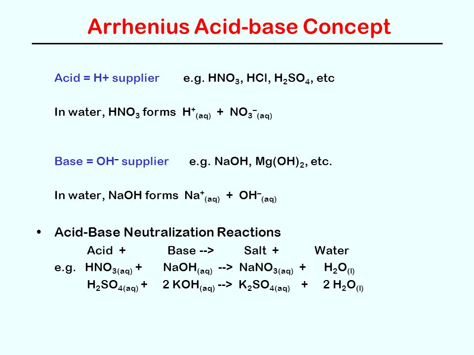 What is the equation of a neutralization reaction between sodium hydroxide and hydrochloric acid?