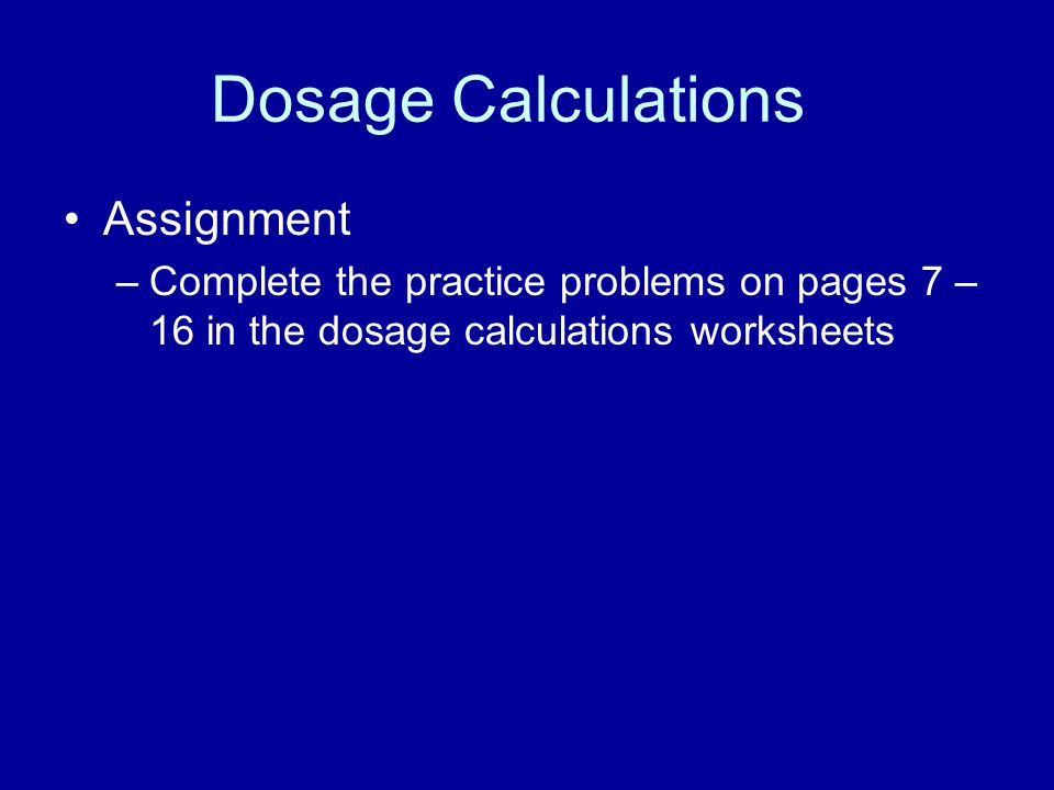 Dosage Calculations for EMS Providers Part 1 ppt video online – Dosage Calculation Worksheets