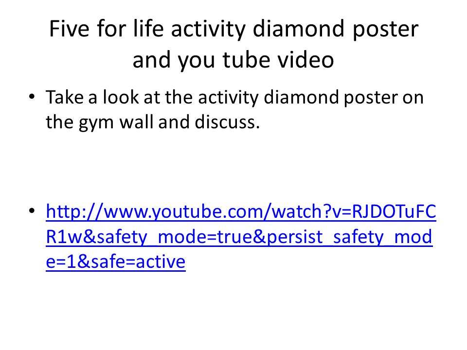 Five for life activity diamond poster and you tube video