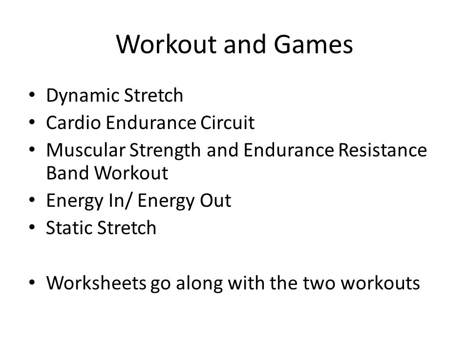 Workout and Games Dynamic Stretch Cardio Endurance Circuit