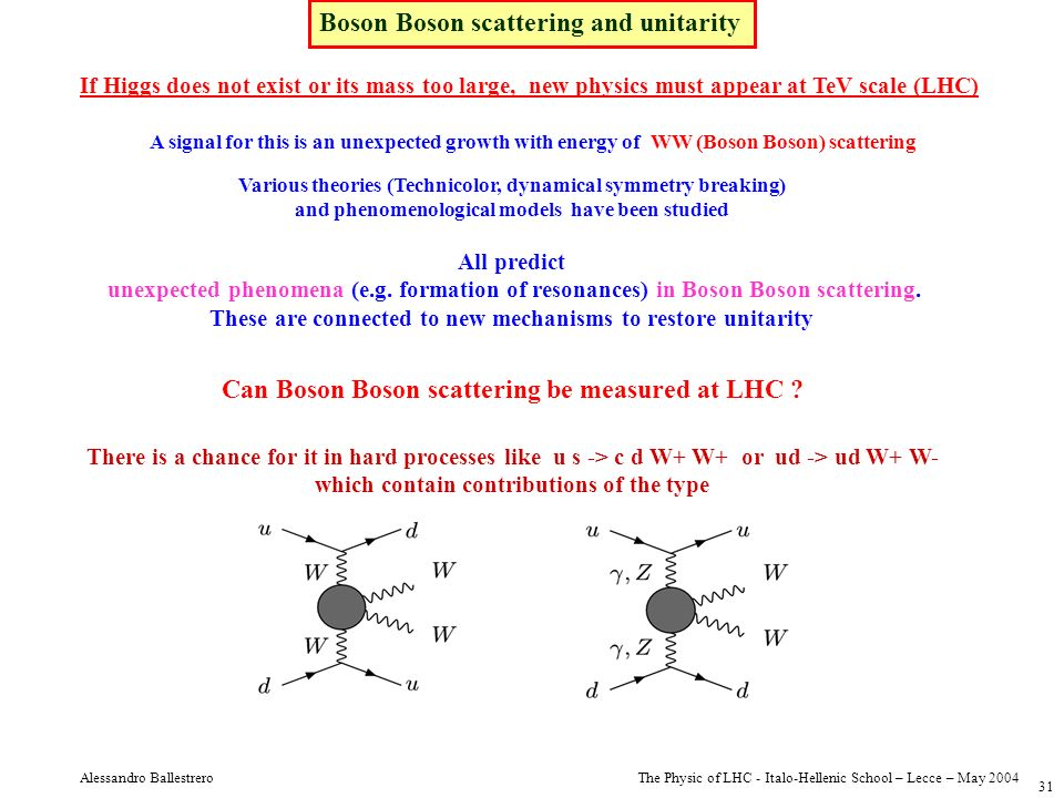 Boson Boson scattering and unitarity