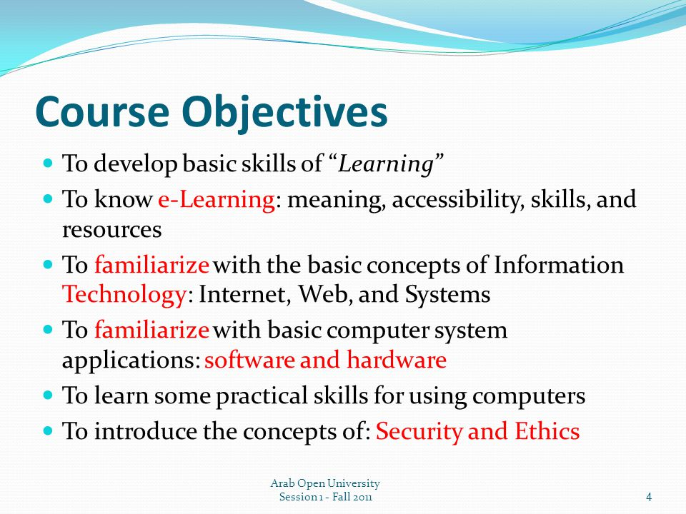 course objectives to develop basic skills of learning - Software Proficiency Meaning