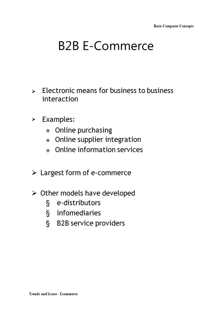B2B E-Commerce Basic Computer Concepts