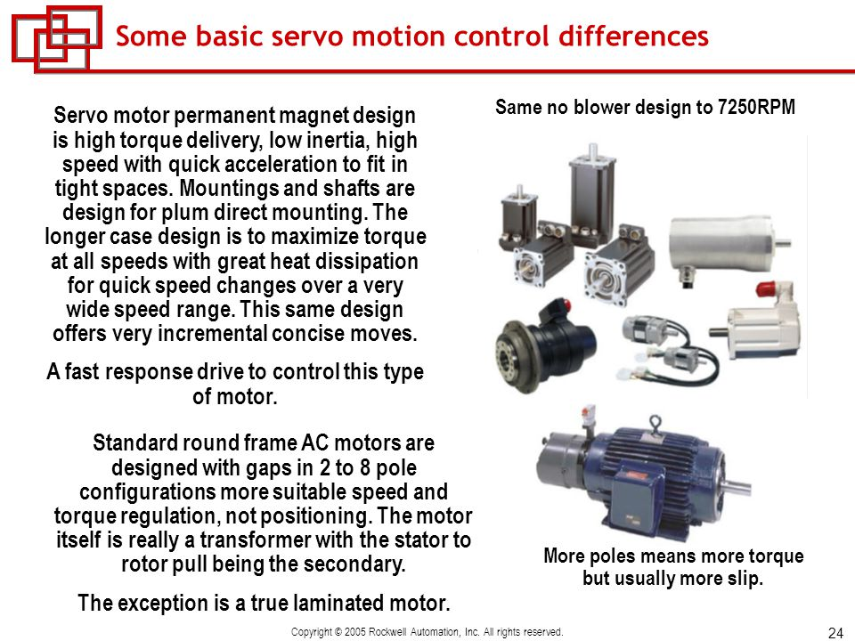 Flux vector ac drive control vs servo drive control ppt for Servo motors and drives inc