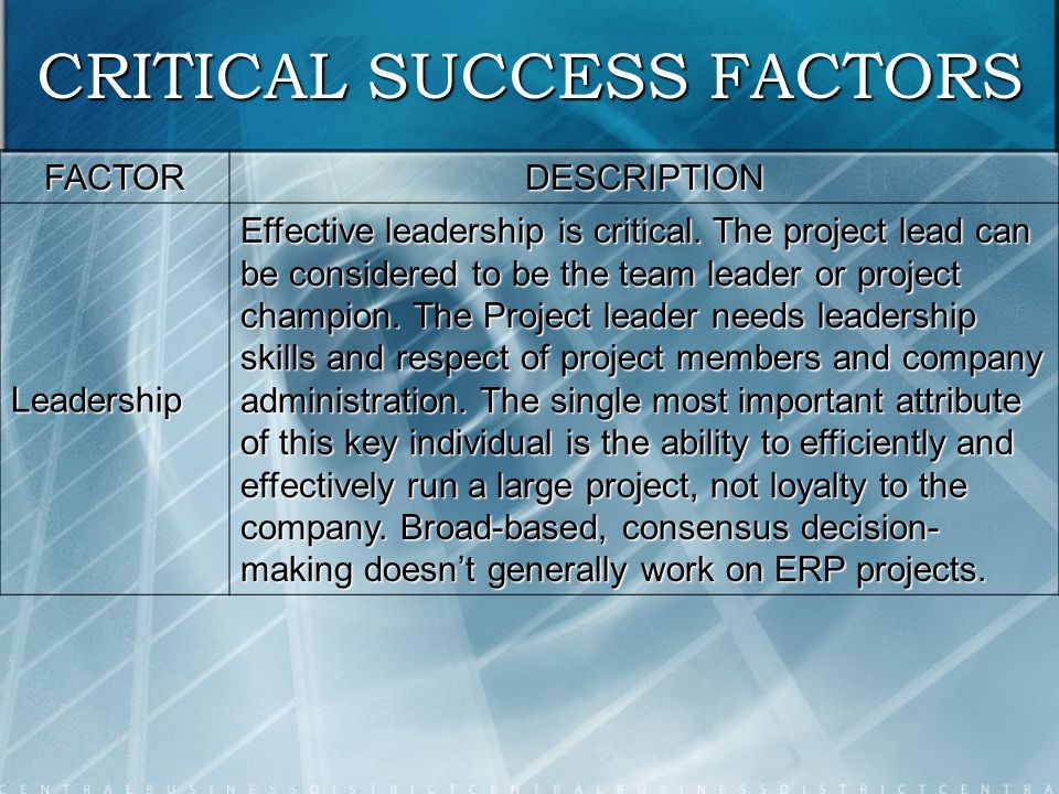 what is the most important critical success factor when implementing an it initiative Culture as the most critical factors for six sigma success in addition, effective many of them abandoned their six sigma initiative since it was not significantly critical success factors for six sigma implementation69.
