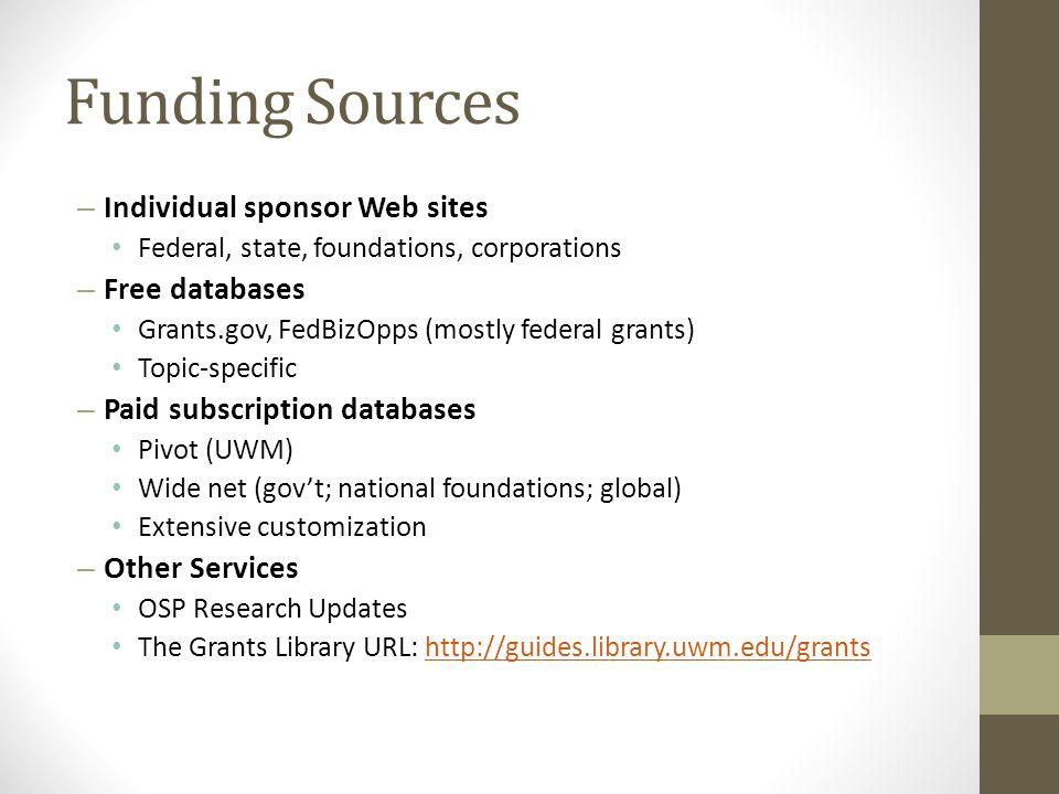Funding Sources Individual sponsor Web sites Free databases