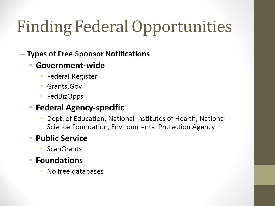 Finding Federal Opportunities