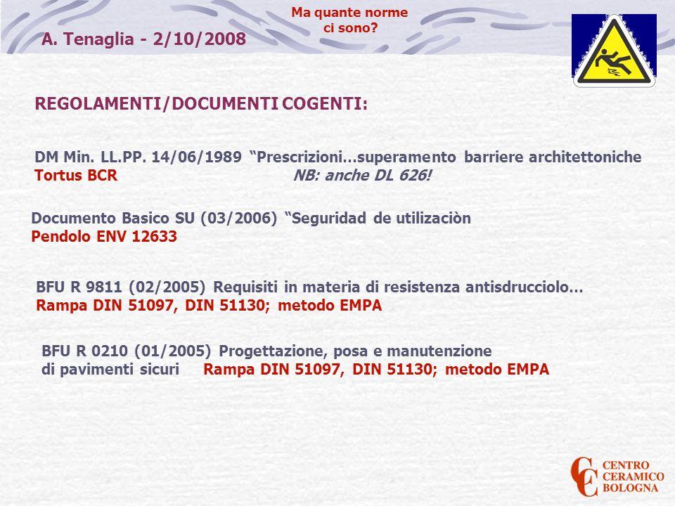 REGOLAMENTI/DOCUMENTI COGENTI: