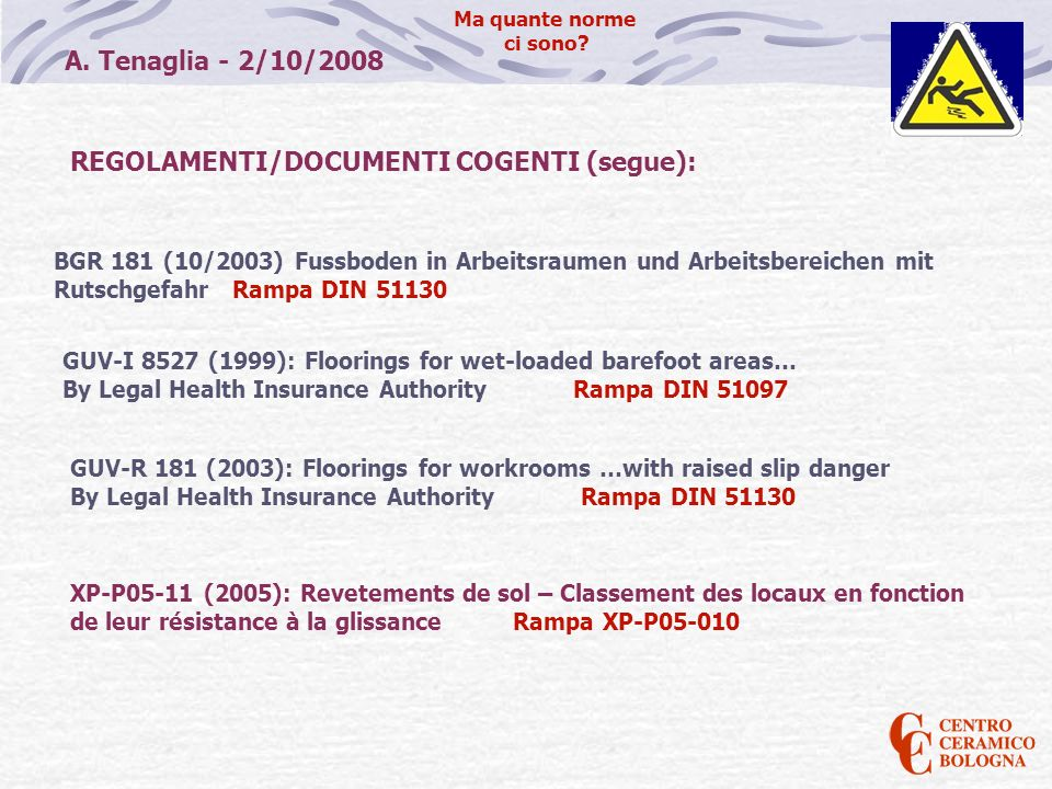 REGOLAMENTI/DOCUMENTI COGENTI (segue):