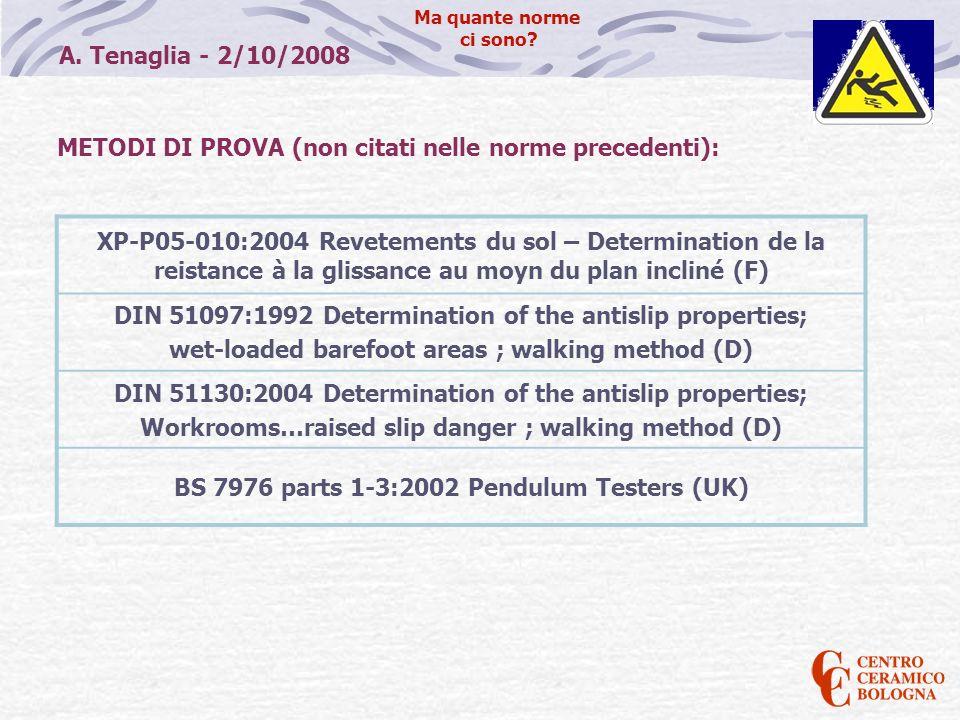 METODI DI PROVA (non citati nelle norme precedenti):