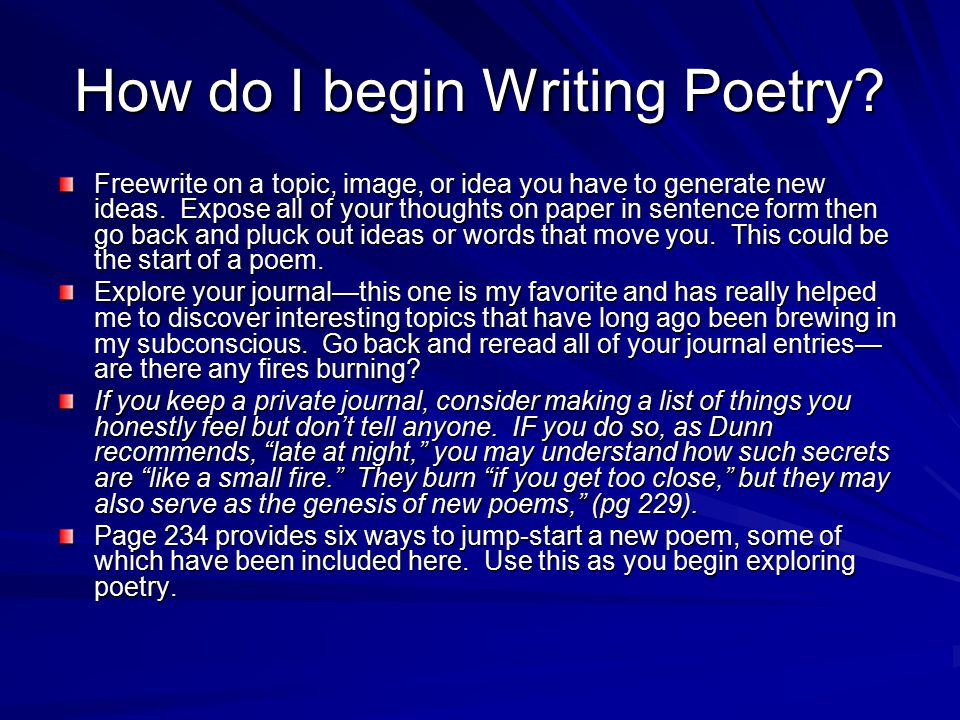 how to get back to writing poetry