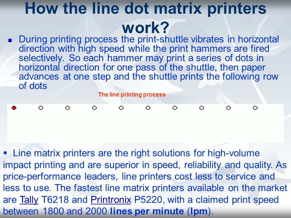 How the line dot matrix printers work