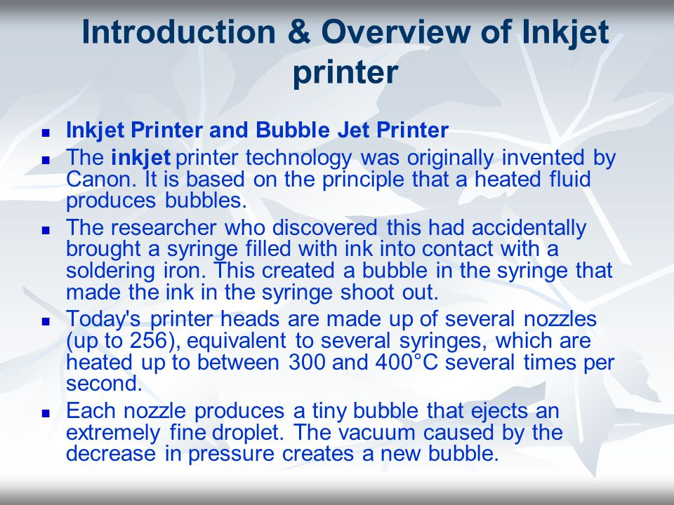 Introduction & Overview of Inkjet printer