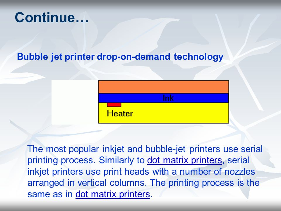 Continue… Bubble jet printer drop-on-demand technology