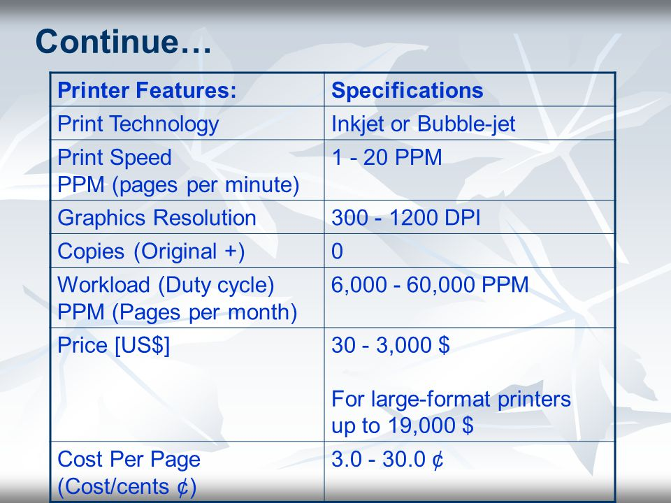 Continue… Printer Features: Specifications Print Technology