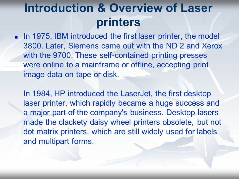 Introduction & Overview of Laser printers