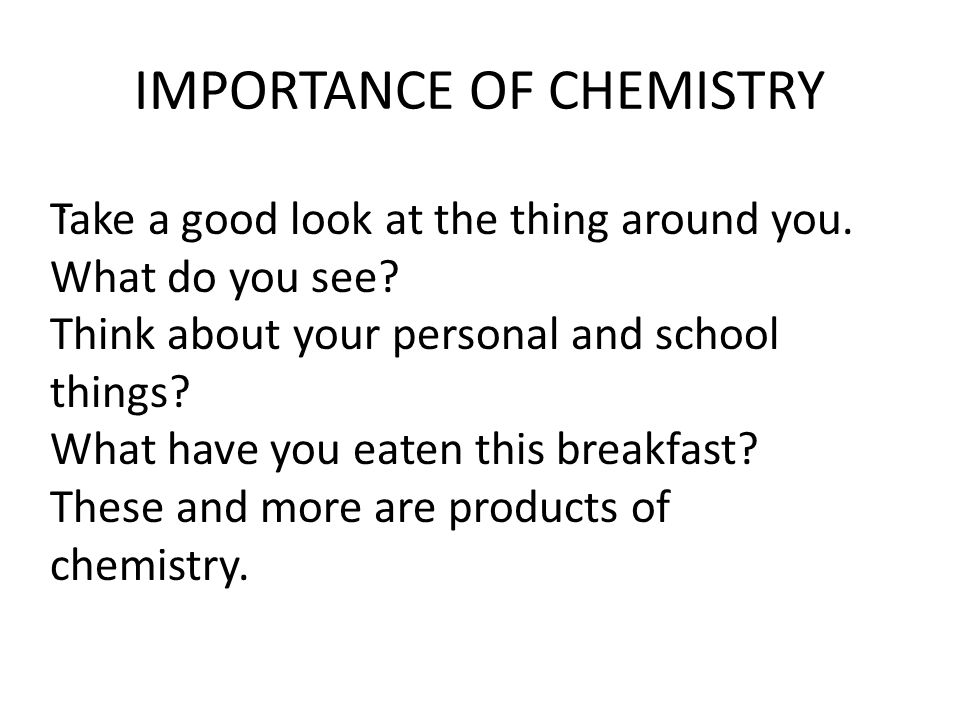 Role of Chemistry in Our Society Essay