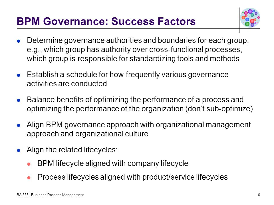 BPM Governance: Success Factors