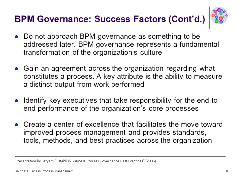 BPM Governance: Success Factors (Cont'd.)