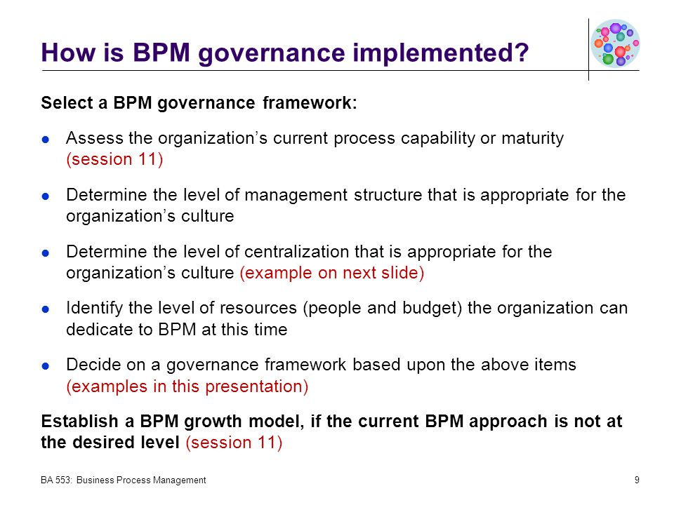 How is BPM governance implemented