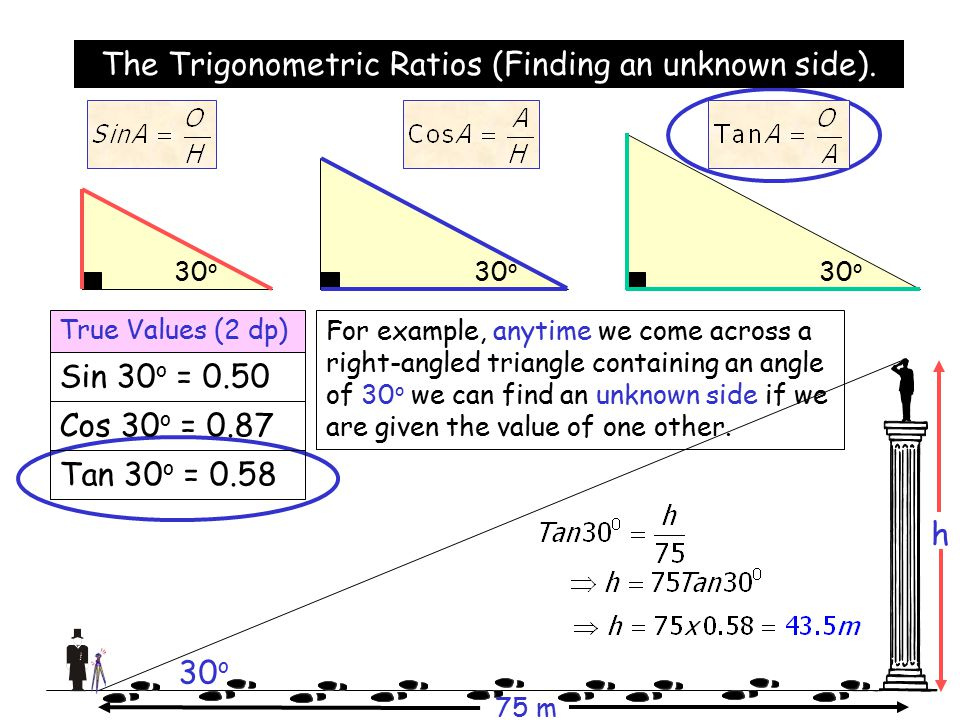 how to find an unknown side with 2 sides trig