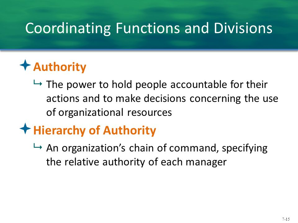 Coordinating Functions and Divisions