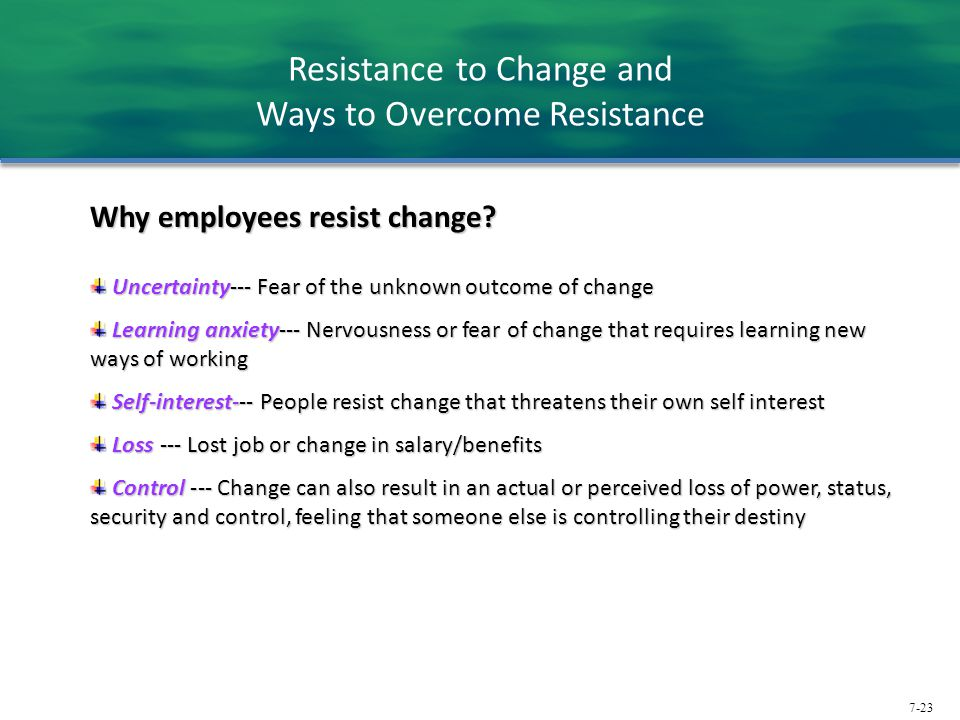 Resistance to Change and Ways to Overcome Resistance