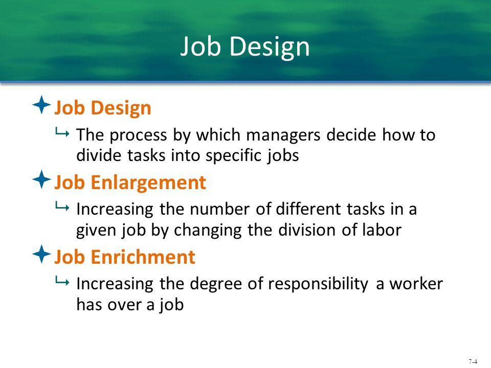 Job Design Job Design Job Enlargement Job Enrichment