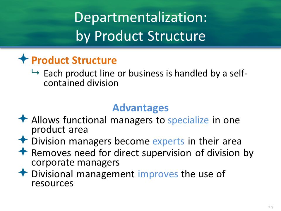 Departmentalization: by Product Structure